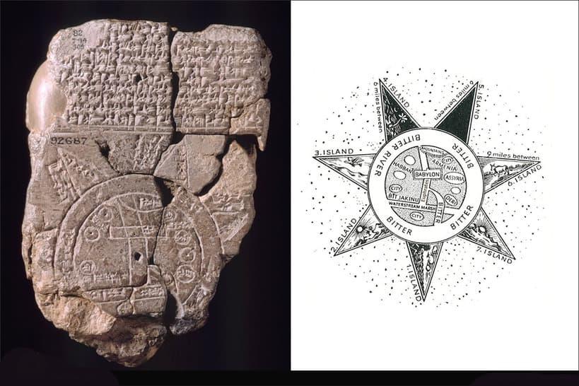 Mapa de arcilla babilónica del mundo, siglo VI a.C. Museo Británico de Londres