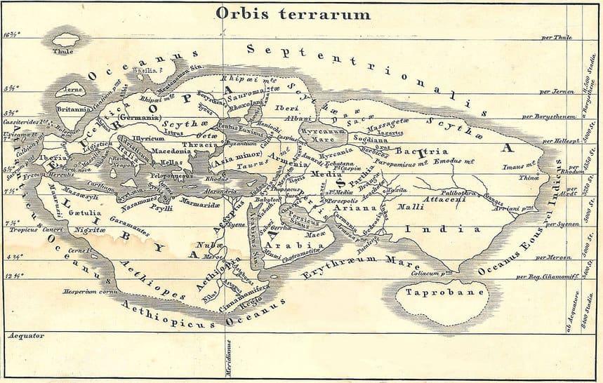 El mapa mundial de Eratóstenes del Siglo II A.C. reconstruido por von Spruner en 1855