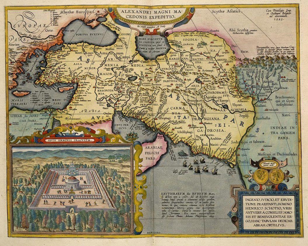 Mapa de países ocupados por Alejandro Magno. Abraham Ortelius, 1595. Biblioteca Británica, Londres