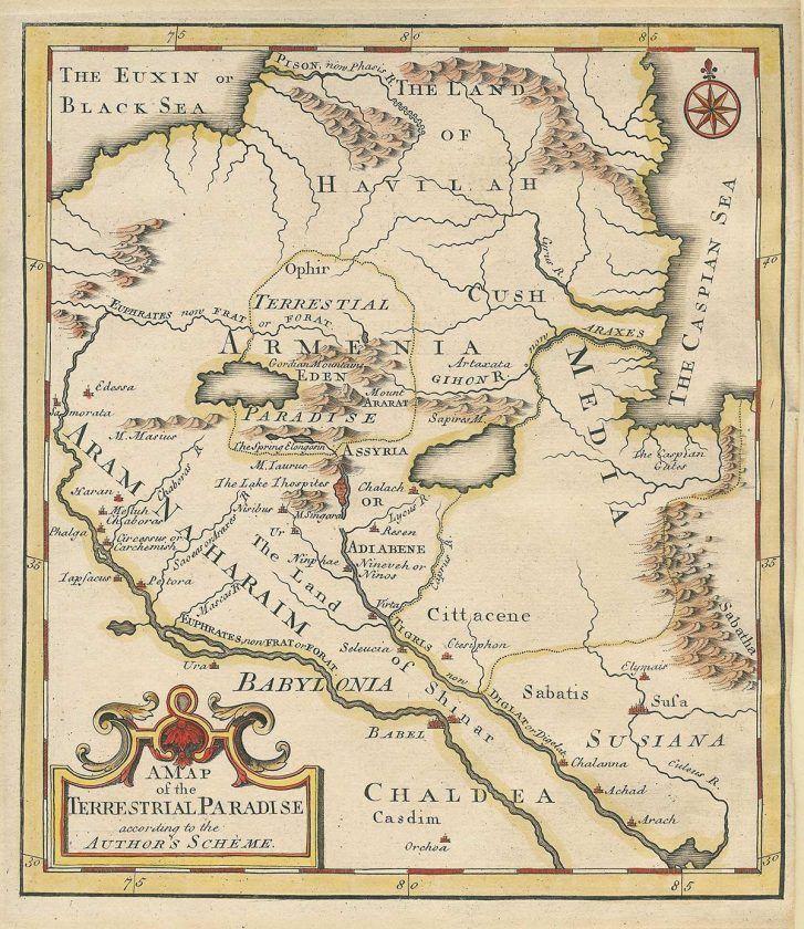 Mapa del paraíso terrenal del Edén. Emmanuel Bowen, 1780. Colección personal de Ruben Galchyan, ahora en Matenadaran