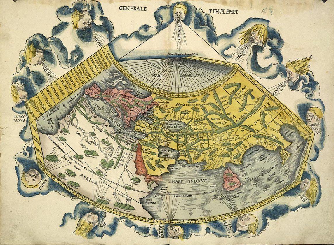 Claudio Ptolomeo, siglo II. El mapa fue diseñado por Martin Waldseemüller y publicado por Schott en 1513. Museo Británico de Londres