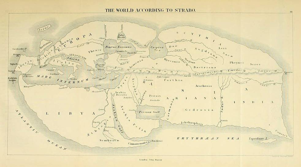 Armenia en mapas de Estrabón, siglo I a.C. Bosquejado por Karl Müller