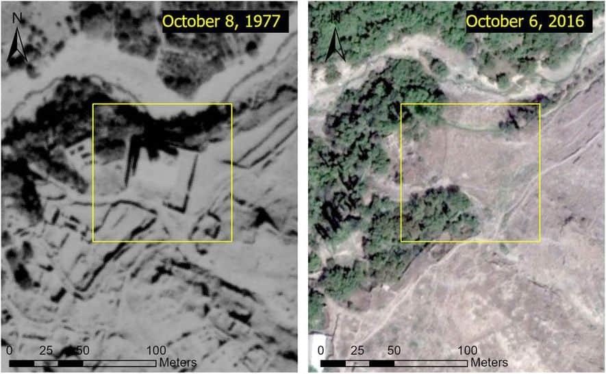 Imagen: Imágenes de satélite KH-9 Hexagon y Google Earth analizadas por Caucasus Heritage Watch y Simon Maghakyan